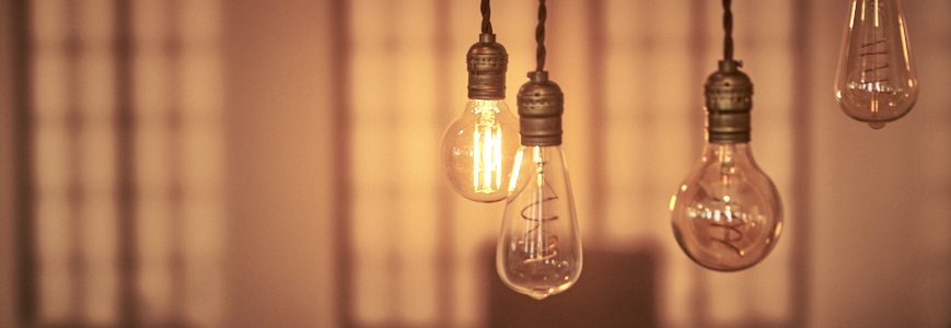 Vintage light bulbs in office setting